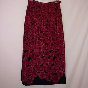 Red roses long dressy straight skirt